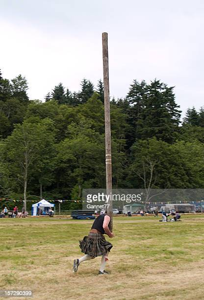 Tossing the Caber at a Highland Games event