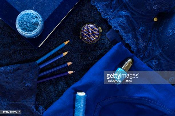 total blue. - total look stock pictures, royalty-free photos & images
