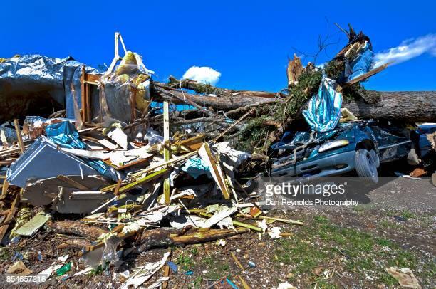 Total Destruction and debris after tornado