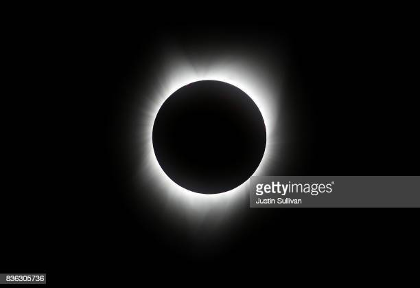 A total eclipse is seen from South Mike Sedar Park on August 21 2017 in Casper Wyoming Millions of people have flocked to areas of the US that are in...