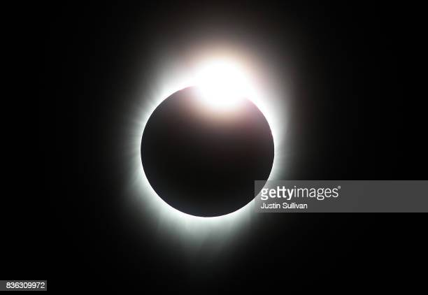 A total eclipse with the 'diamond ring' effect is seen from South Mike Sedar Park on August 21 2017 in Casper Wyoming Millions of people have flocked...