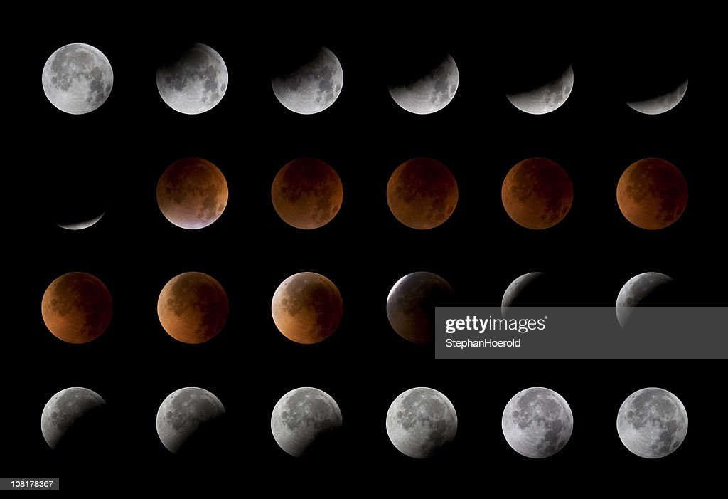 Total lunar eclipse, 24 moon phases, August 28th, 2007 : Stock Photo