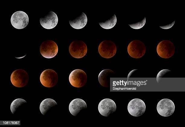 Total lunar eclipse, 24 moon phases, August 28th, 2007