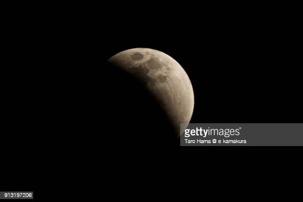 Total lunar eclipse and super blood moon seen in Kamakura city in Kanagawa prefecture in Japan in 31st of January 2018