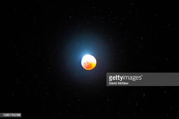 A total lunar eclipse and supermoon is seen on January 20 2019 near Barstow California This is the last total lunar eclipse in the United States...