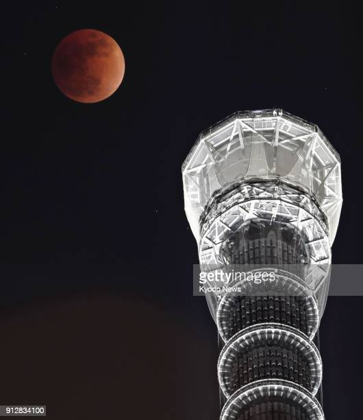 A total lunar eclipse is seen above the Tokyo Skytree in the Japanese capital's Sumida Ward on Jan 31 2018 ==Kyodo