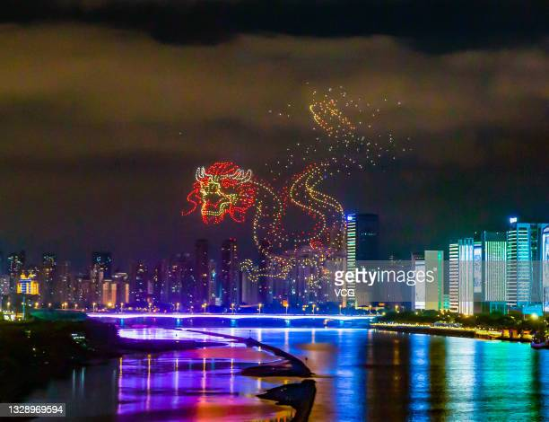 Total of 1,500 drones form a dragon pattern during a performance rehearsal for the upcoming 44th Session of the World Heritage Committee, on July 14,...