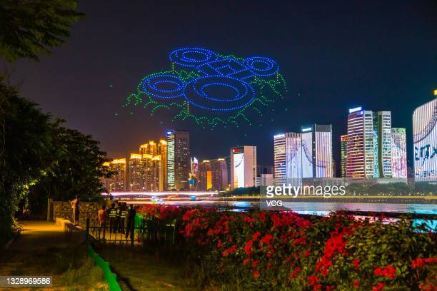 Total of 1,500 drones form a Fujian tulou pattern during a performance for the upcoming 44th Session of the World Heritage Committee, on July 15,...