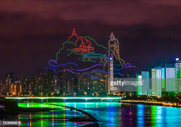 Total of 1,500 drones perform in rehearsal for the upcoming 44th Session of the World Heritage Committee, on July 14, 2021 in Fuzhou, Fujian Province...