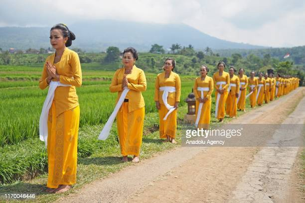 Total of 400 dancers perform Rejang Kesari dance during opening the 2019 Jatiluwih Festival near agricultural heritage at Jatiluwih Village in...