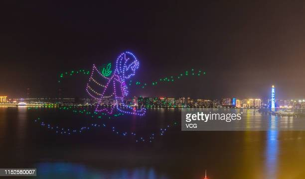Total of 600 drones form a pattern featuring a tea-picking girl at Bali lake during a 15-minute light show to welcome the upcoming 2019 Jiujiang...