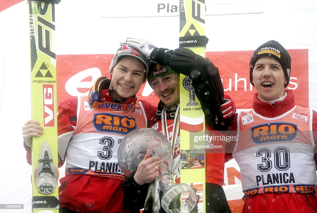 Adam Malyza of Poland takes 1st place , Anders Jacobsen of Norway takes 2nd place ,Simon Ammann of Switzerland takes 3rd place during the FIS Ski Jumping World Cup HS 215 event on March 25, 2007 in Planica, Slovenia.