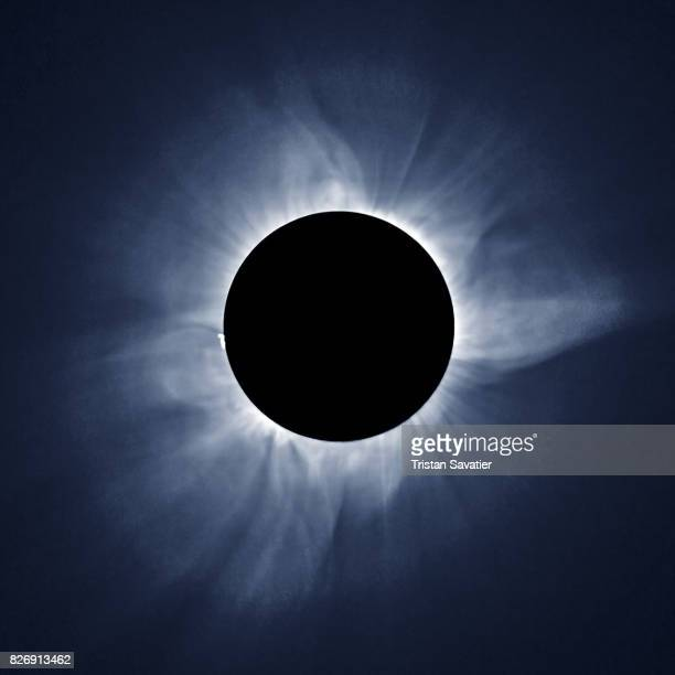 total solar eclipse and sun corona, on march 9 2016 in indonesia - corona stock pictures, royalty-free photos & images