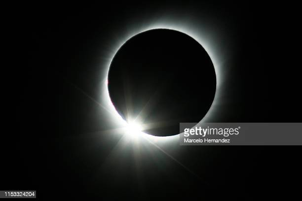 Total solar eclipse on July 2, 2019 in Paiguano, Chile. Around 25,0000 tourists arrived to Paiguano, a small town of around 1,000 inhabitants in the...