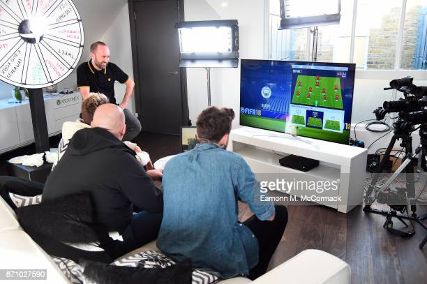 Total Tekkers' Rocket Miniminter Bateson and Xbox On's Benny at the Xbox One X Launch Livestream on November 6 2017 in London England