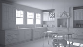 Total white project of scandinavian classic kitchen with dining table and chairs, windows and morning light, vintage cooker and pendant lamps, minimalist interior design
