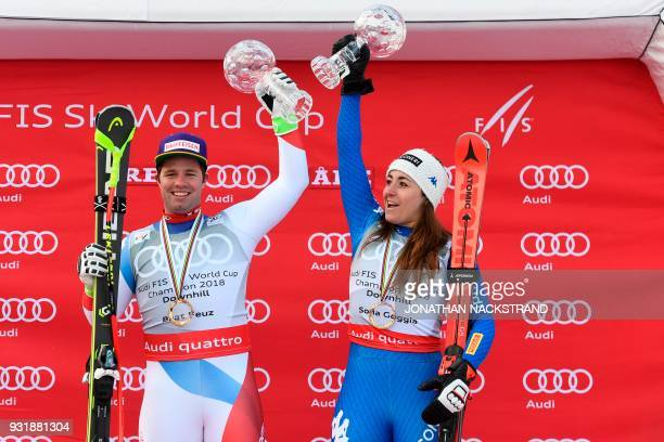 Total winner of the FIS men Downhill World Cup Beat Feuz of Switzerland and total winner of the FIS women Downhill World Cup Sofia Goggia of Italy...