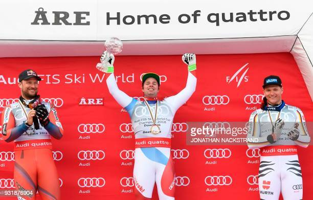 Total winners of the FIS Downhill World Cup second placed Aksel Lund Svindal of Norway winner Beat Feuz of Switzerland and third placed Thomas...