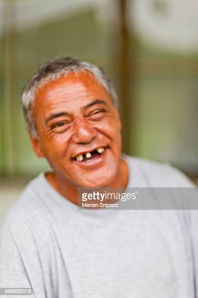 Totally out of focus portrait of a Maori Man present on a Marae in Ahipara Northland. Out of focus, still a dandy smile and memorable picture!