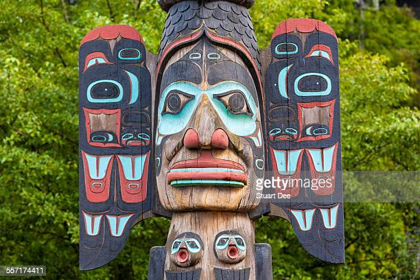 totem pole, alaska - totem pole stock photos and pictures