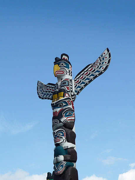 Totem pole and blue sky Vancouver Stanley Park