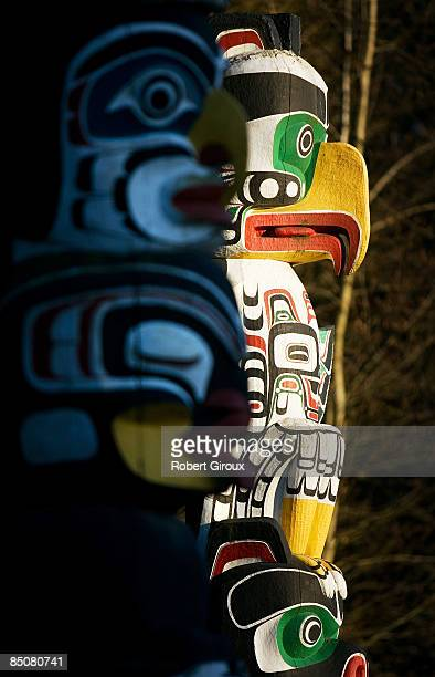 A totem pole decorates Stanley Park February 19 2009 in Vancouver British Columbia Canada Vancouver is the host city for the 2010 Winter Olympic...