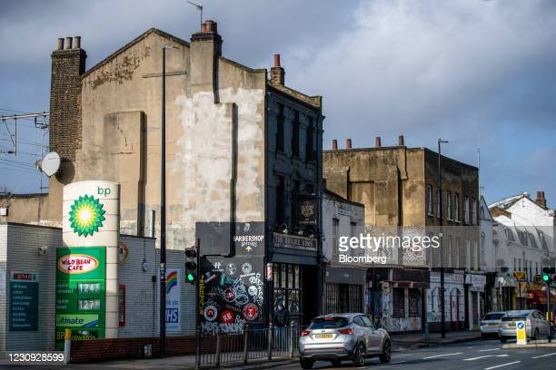 Totem pole for a BP Plc petrol station in London, U.K., on Tuesday, Feb. 2, 2021. BP Plc showed that Big Oil has barely begun to heal the wounds from...