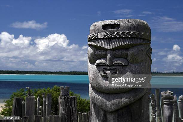 totems from isle of pines - new caledonia stock photos and pictures