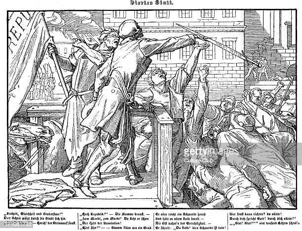 Death offers the sword of Justice to a mob in in order to bring about a bloody revolution Fourth plate in a series of six by Alfred Rethel in 1848