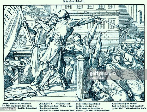 Death offers the sword of Justice to a mob in in order to bring about a bloody revolution Fourth plate in a series of six by Alfred Rethel in 1848...