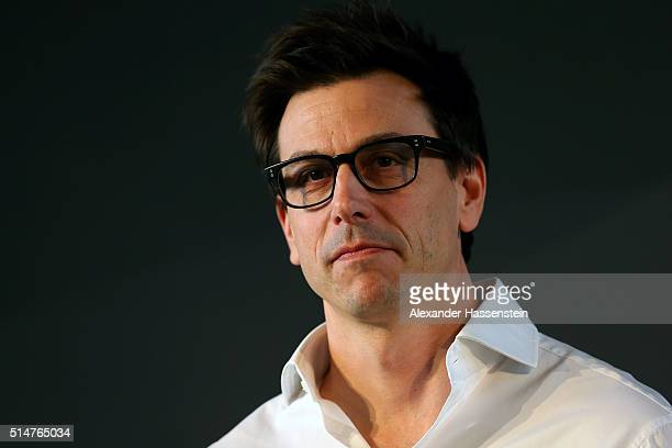 Toto Wolff Head of Mercedes Benz Motorsport faces the media during the Mercedes Benz Motorsport Kickoff 2016 at the Inner Sanctum on March 11 2016 in...