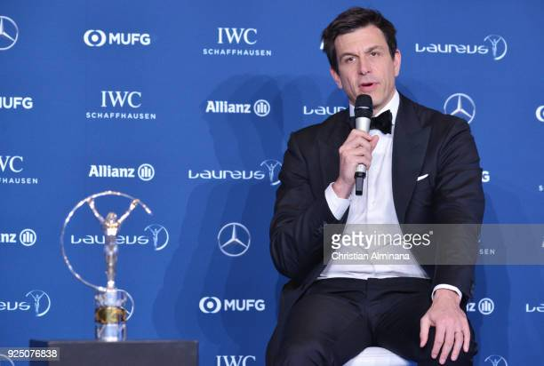 Toto Wolff of holds the award for Mercedes Benz/Patronas F1 team winners of the Laureus Team of the Year at Salle des Etoiles Sporting MonteCarlo on...
