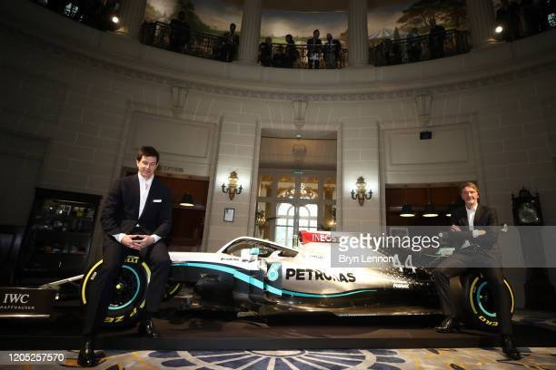 Toto Wolff Team Principal CEO of The Mercedes AMGPETRONAS F1 Team and INEOS Founder and Chairman Sir Jim Ratcliffe pose for a photo with a Mercedes...