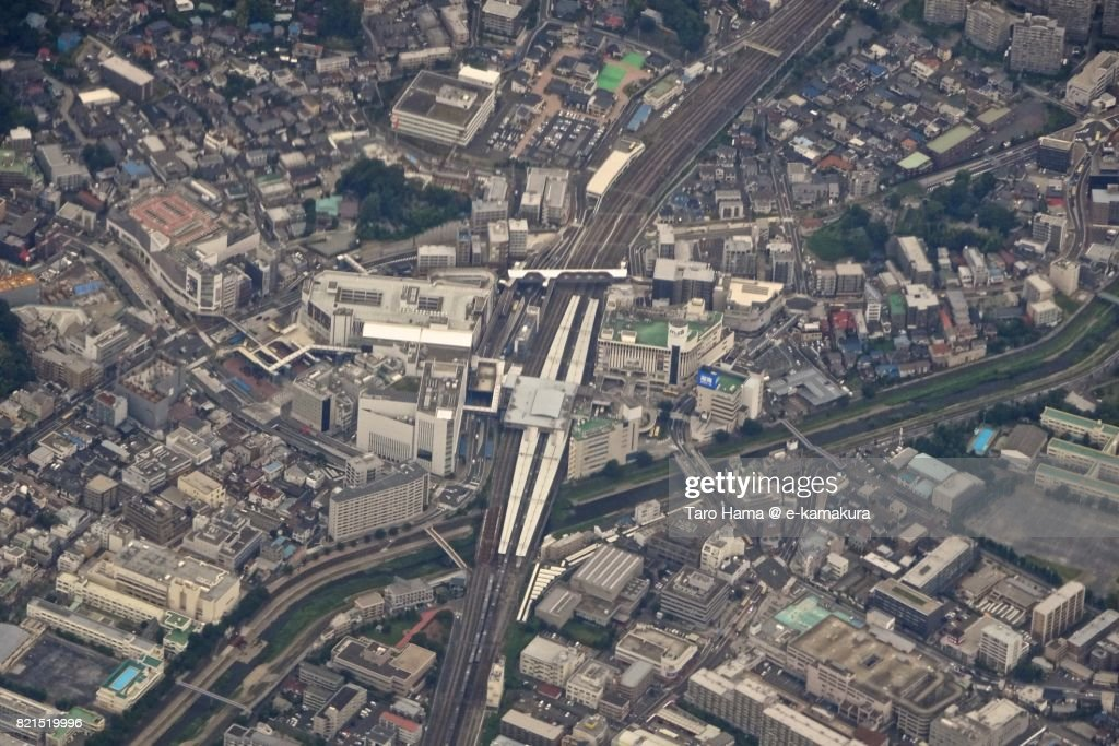 JR Totsuka station and Kashio river daytime aerial view from airplane : ストックフォト