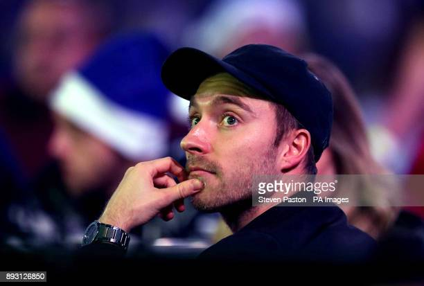 Tottehham Hotspur Christian Eriksen watches during day one of the William Hill World Darts Championship at Alexandra Palace London