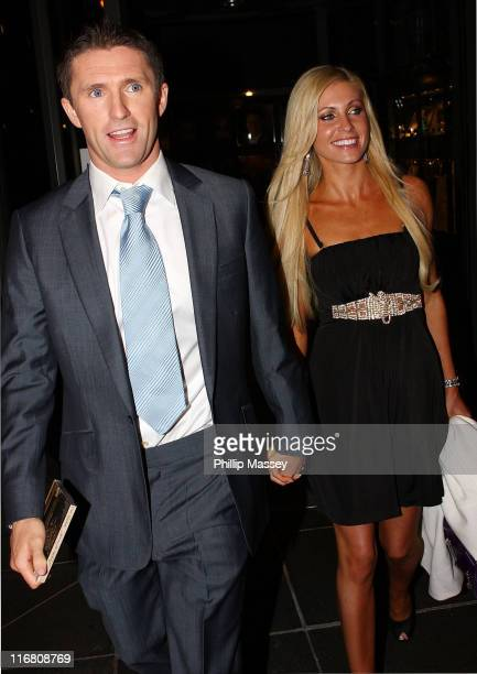 Tottenham and Republic of Ireland soccer player Robbie Keane and girlfriend Claudine Palmer at the Late Late Show at the RTE Studios on October 19,...