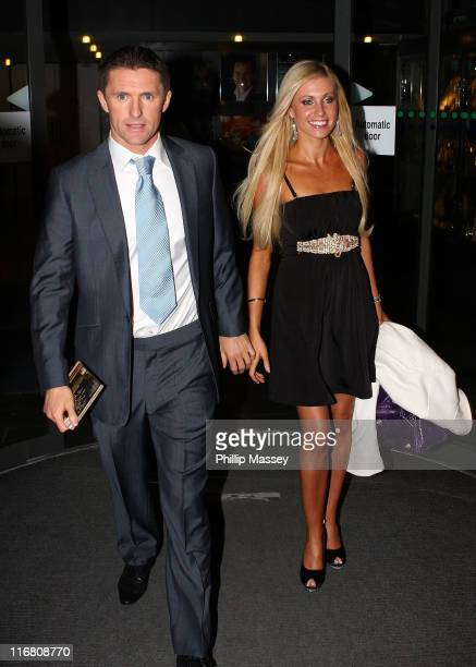 Tottenham and Republic of Ireland soccer player Robbie Keane and girlfriend Claudine Palmer at the Late Late Show at the RTE Studios on October 19...