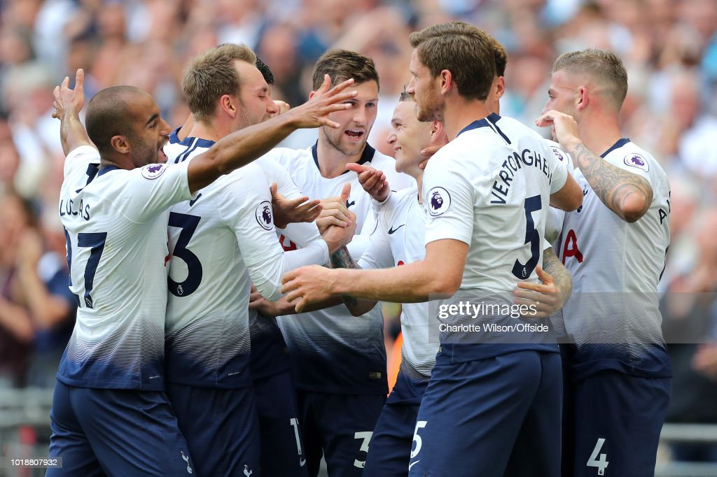 Tottenham celebrate their 2nd goal scored by Kieran Trippier (centre) during the Premier League match between Tottenham Hotspur and Fulham FC at Wembley Stadium on August 18, 2018 in London, United Kingdom.