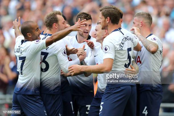 Tottenham celebrate their 2nd goal scored by Kieran Trippier during the Premier League match between Tottenham Hotspur and Fulham FC at Wembley...