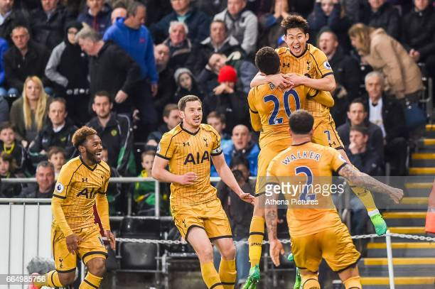 Tottenham Celebrates their final goal during the Premier League match between Swansea City and Tottenham Hotspur at The Liberty Stadium on April 5...