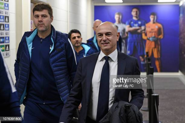 Tottenham chairman Daniel Levy and manager Mauricio Pochettino arrive at The Cardiff City Stadium before the Premier League match between Cardiff...