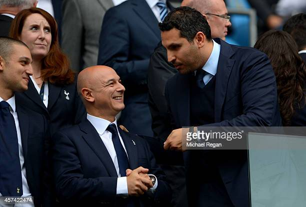Tottenham Chairman Daniel Levy chats with Manchester City Chairman Khaldoon Al Mubarek prior to kickoff during the Barclays Premier League match...