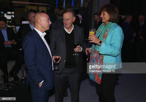 Tottenham chairman Daniel Levy talks to guests during the premiere of 'The Lane' documentary film at BT Sport Studios on November 30 2017 in...