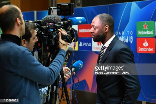 Tottenham Club Ambassador Ledley King is interviewed following the UEFA Champions League 2018/19 Quarterfinal Semifinal and Final draws at the UEFA...