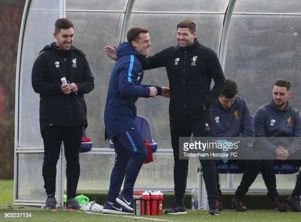 Tottenham coach Scott Parker and Liverpool coach Steven Gerrard during the U18 Premier League match between Tottenham Hotspur and Liverpool at...