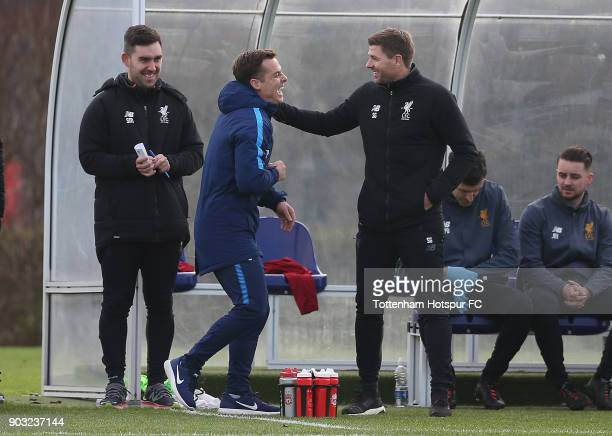 Tottenham coach Scott Parker and Liverpool coach Steven Gerrard during the U18 Premier League match between Tottenham Hotspur and Liverpool at...