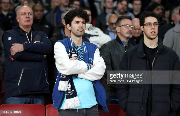 Tottenham fans look on dejected during the Premier League match at Emirates Stadium London