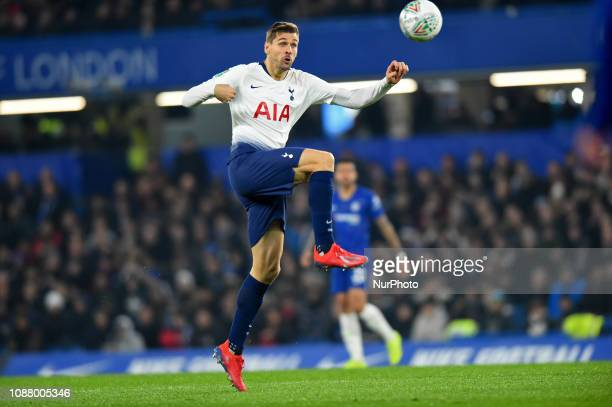 Tottenham forward Fernando Llorente in action during the Carabao Cup match between Chelsea and Tottenham Hotspur at Stamford Bridge London on...