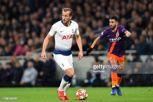 Tottenham forward Harry Kane in action during the UEFA Champions League Quarter Final 1st Leg match between Tottenham Hotspur and Manchester City at...