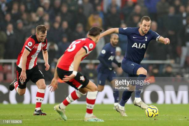 Tottenham forward Harry Kane makes break during the Premier League match between Southampton and Tottenham Hotspur at St Mary's Stadium, Southampton...